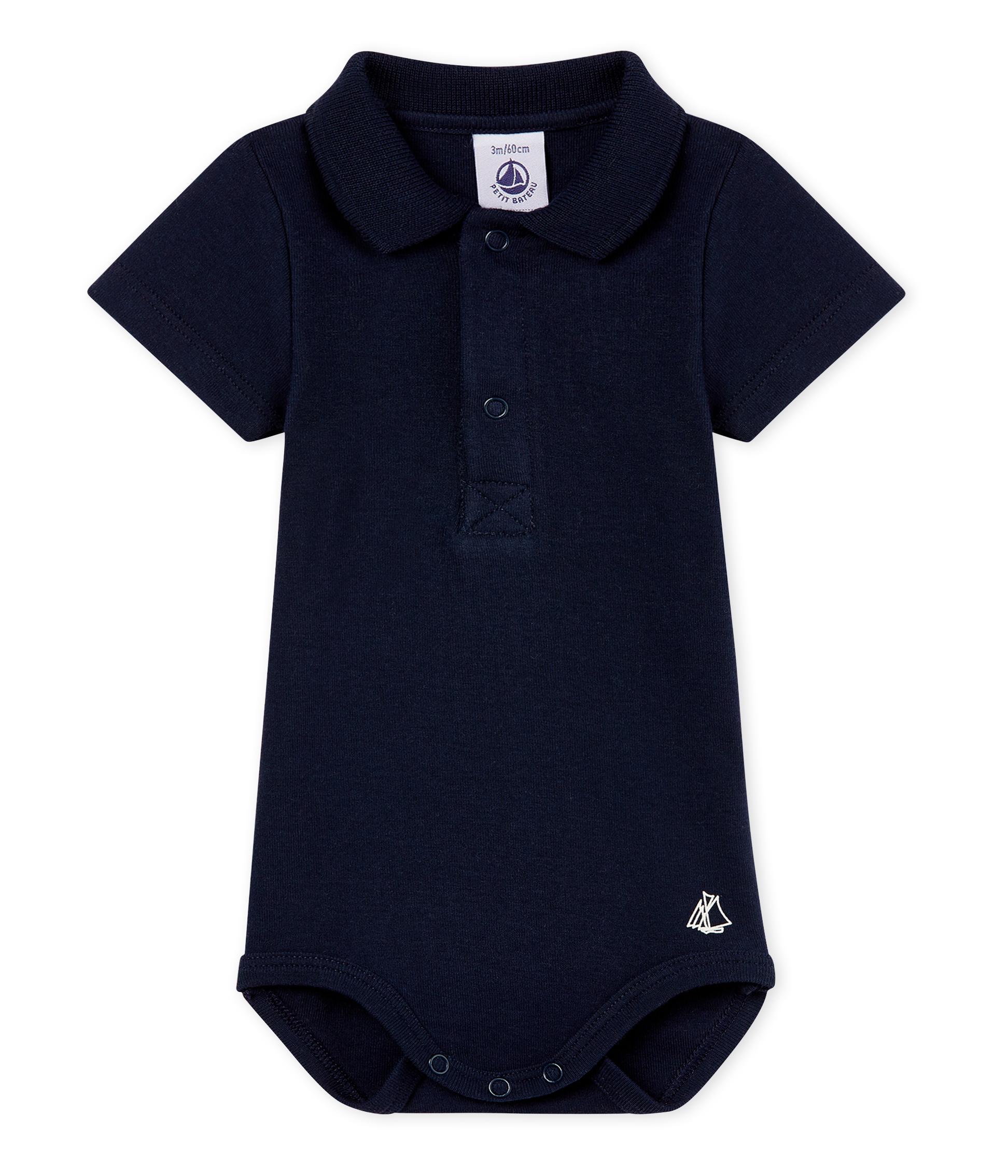 Body manga corta cuello polo liso para bebé niño 3f6080ca8165