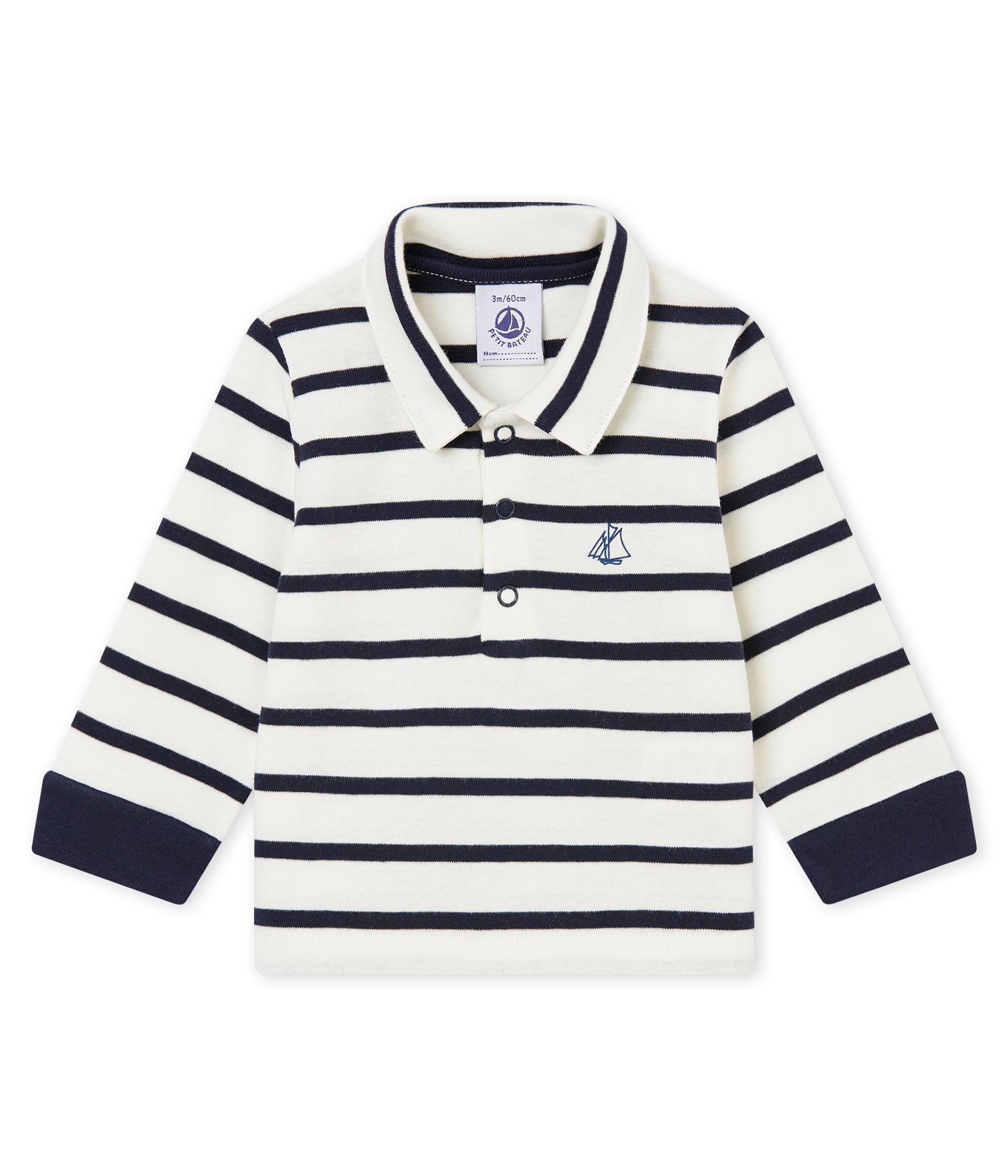512df14aa Polo a rayas marineras para bebé niño | Petit Bateau