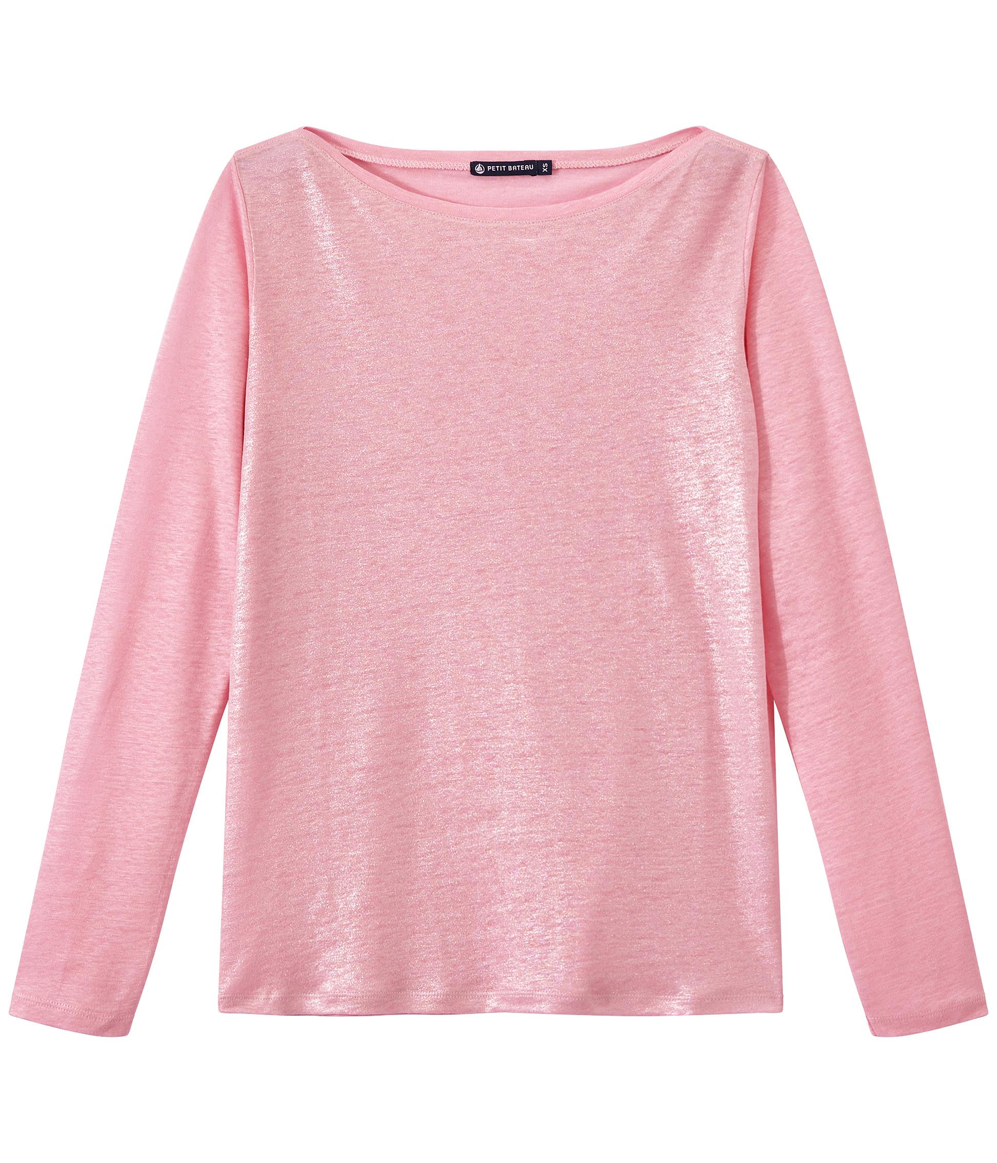 535c56a06 Camiseta de manga larga de lino para mujer